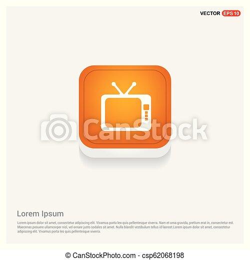 Tv Icon Orange Abstract Web Button - csp62068198