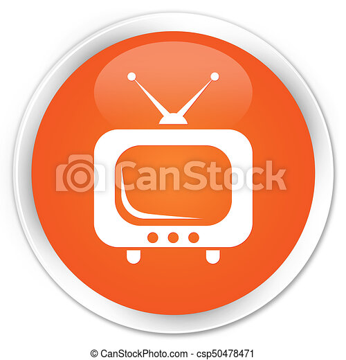 TV icon premium orange round button - csp50478471