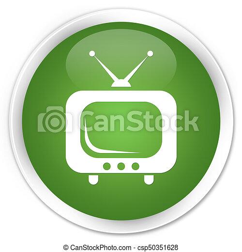 TV icon premium soft green round button - csp50351628