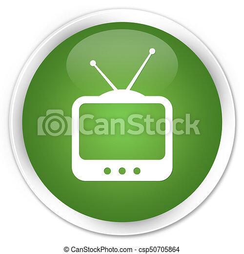 TV icon premium soft green round button - csp50705864