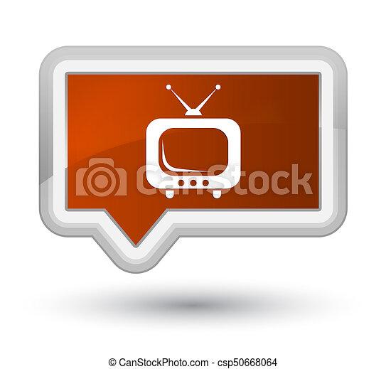 TV icon prime brown banner button - csp50668064