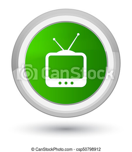TV icon prime green round button - csp50798912