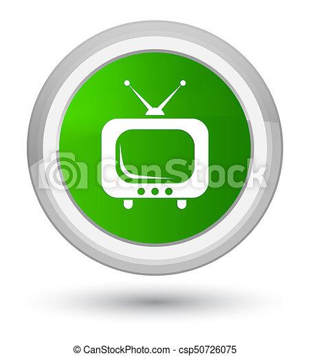 TV icon prime green round button - csp50726075