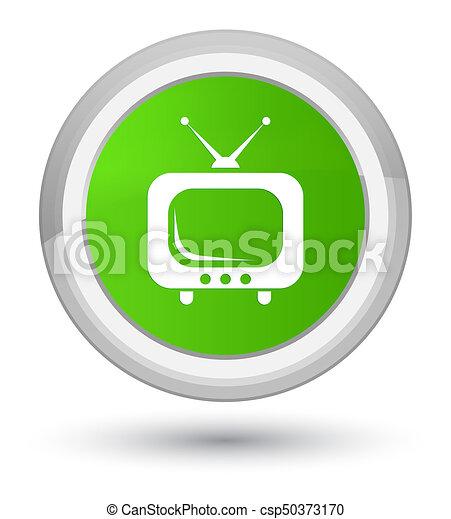 TV icon prime soft green round button - csp50373170