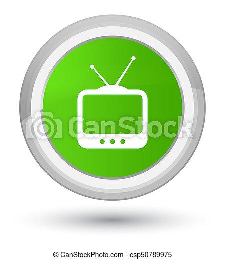 TV icon prime soft green round button - csp50789975