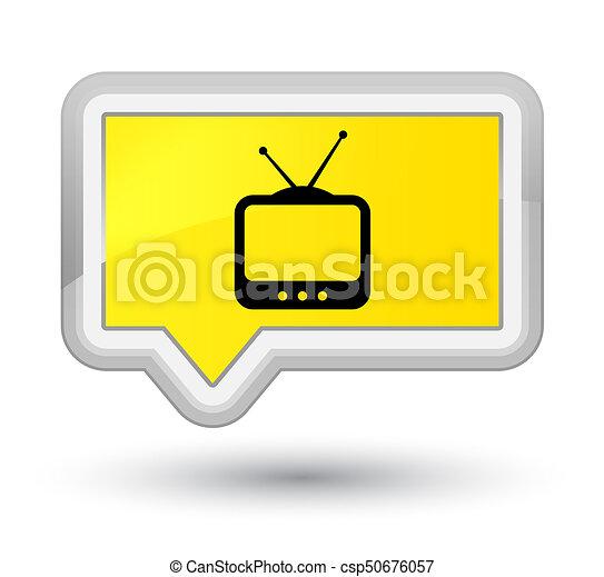 TV icon prime yellow banner button - csp50676057