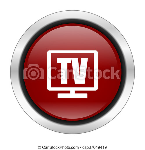 tv icon, red round button isolated on white background, web design illustration - csp37049419