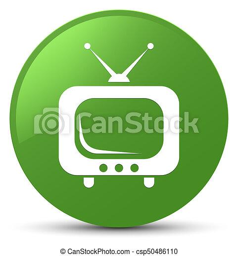 TV icon soft green round button - csp50486110