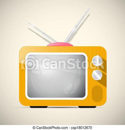 tv, illustration, vecteur, retro, orange, tã©lã©viseur - csp18012670