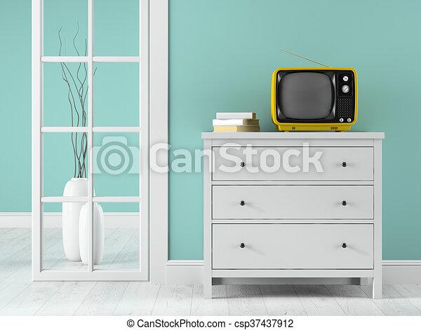 tv, jaune, rendre, partie, intérieur, 3d - csp37437912