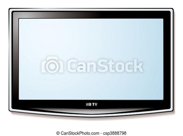 tv, lcd, blanc écran - csp3888798