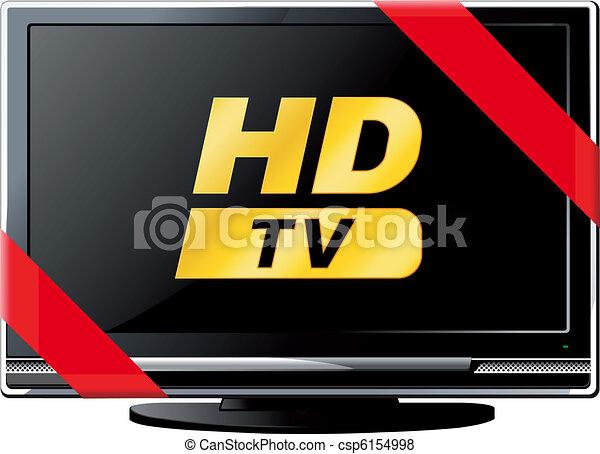 tv, lsd, ruban, rouges - csp6154998