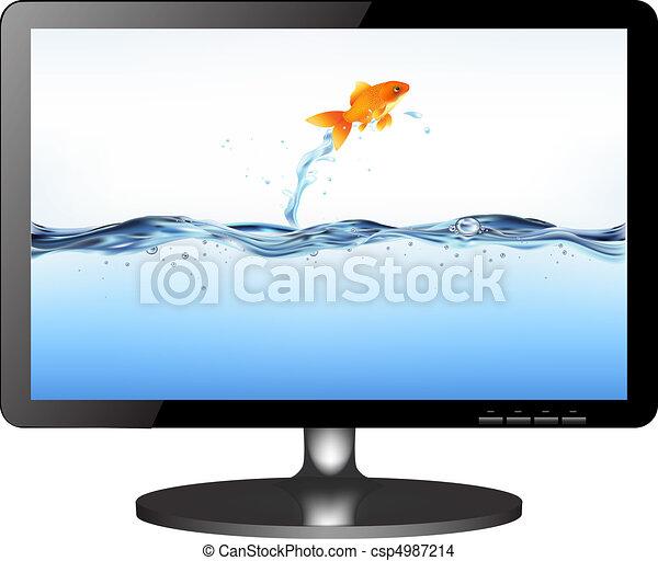 tv, lsd, springt, monitor, visje - csp4987214