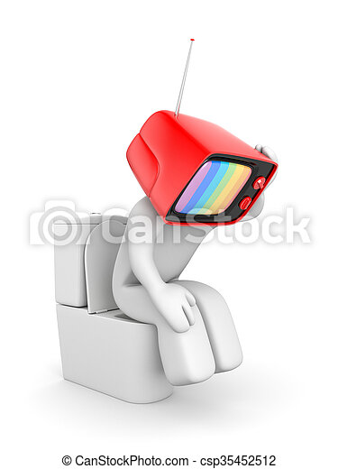 TV man sitting on the toilet bowl. Propaganda Symbolism - csp35452512