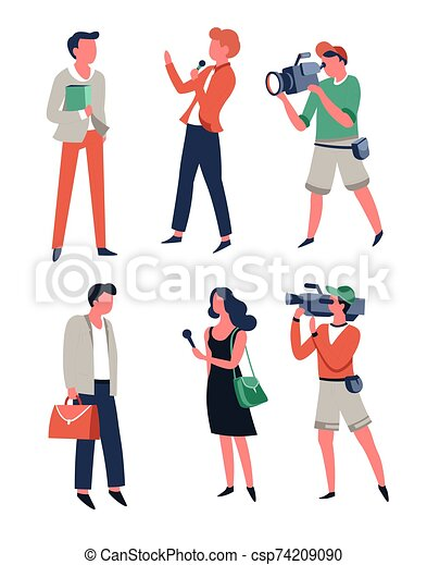 Breaking News Illustration. News Reporter With Camera Man. Royalty Free  Cliparts, Vectors, And Stock Illustration. Image 93524785.