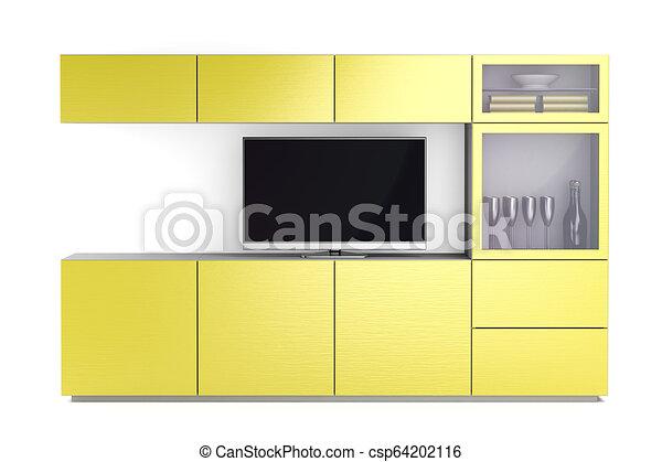 tv, mené, stand, jaune - csp64202116