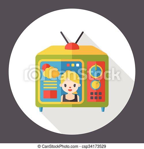 TV monitor flat icon - csp34173529