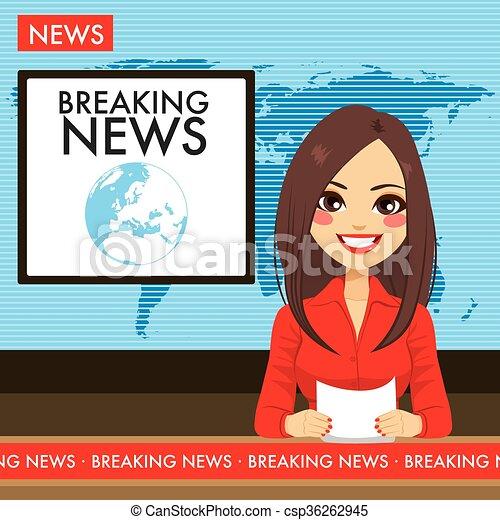 tv, mulher, jovem, newscaster - csp36262945
