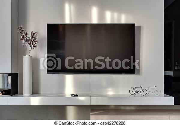 Tv In Muur : Tv muur bloem kamer vorm vaas bicycles daar moderne ver
