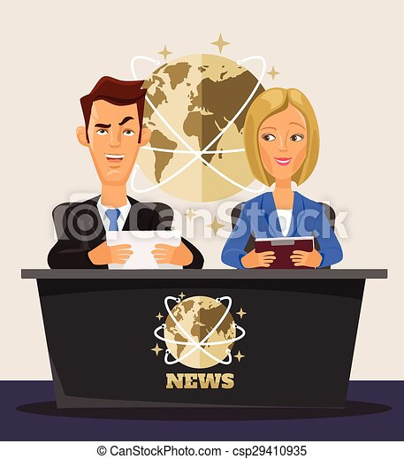 Tv News Vector Flat Cartoon Illustration