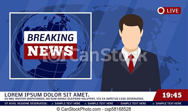 Tv News Studio With Broadcaster And Breaking World Background Vector