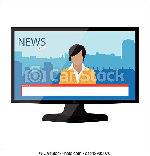 Tv News Vector App On Monitor Screen Electronic Mass Media