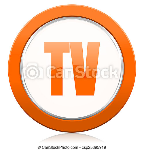 tv orange icon television sign - csp25895919
