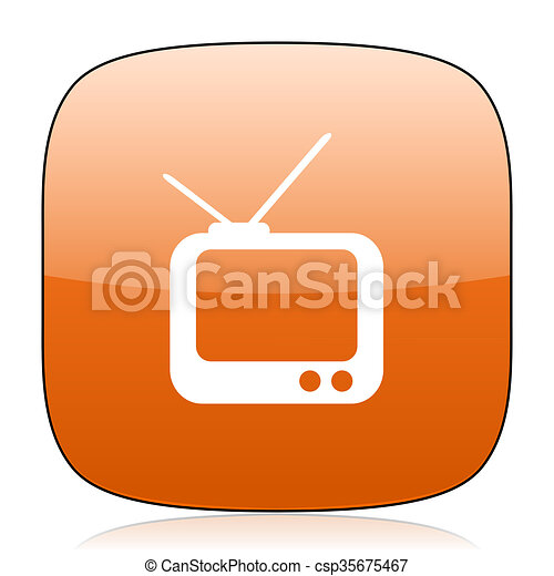 tv orange square web design glossy icon - csp35675467