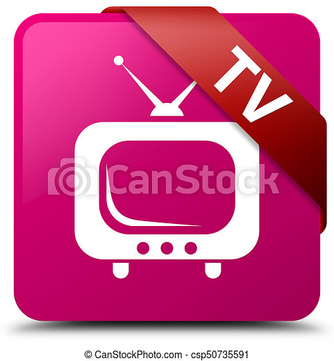 TV pink square button red ribbon in corner - csp50735591