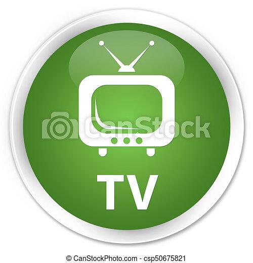 TV premium soft green round button - csp50675821