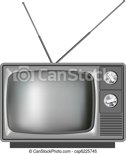 tv, realístico, televisão, antigas, ilustração - csp6225745