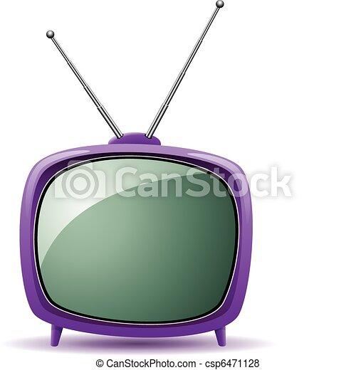tv, retro, set, vettore, viola - csp6471128