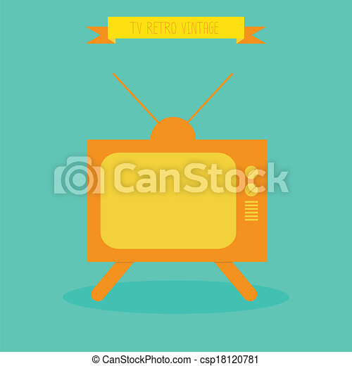 tv, retro., tã©lã©viseur, eps10, vector. - csp18120781