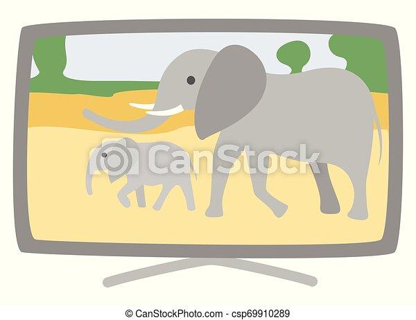 Elefantes vectores de plasma en pantalla - csp69910289