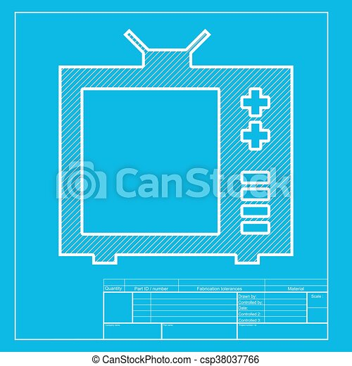 Tv sign illustration white section of icon on blueprint clip art tv sign illustration white section of icon on blueprint template malvernweather Gallery