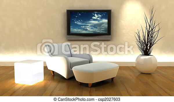tv, sofa, render, 3d - csp2027603