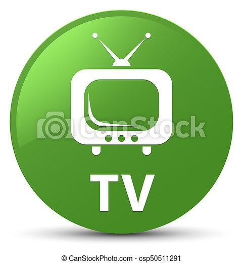 TV soft green round button - csp50511291