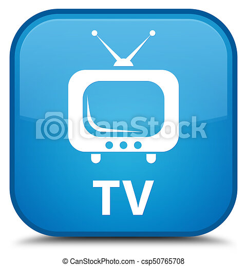 TV special cyan blue square button - csp50765708