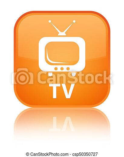 TV special orange square button - csp50350727