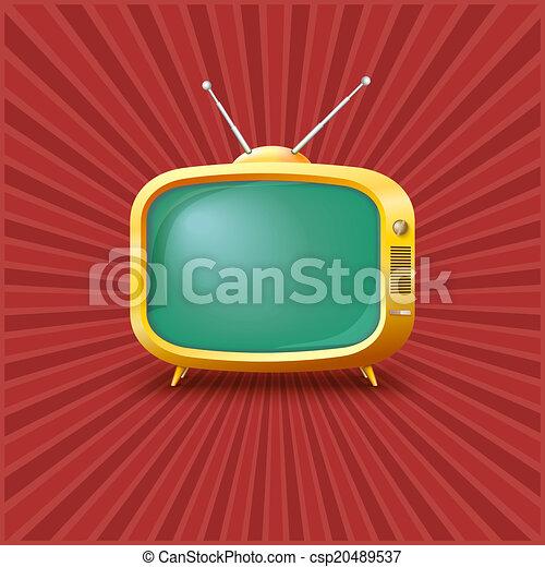 tv, vendange, jaune, arrière-plan. - csp20489537