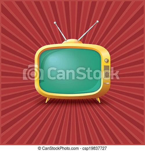tv, vendange, jaune, arrière-plan. - csp19837727