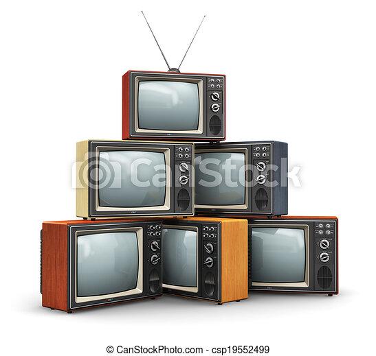 tv, vieux, pile - csp19552499