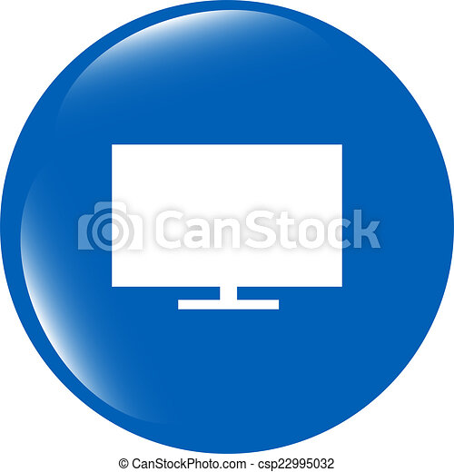 tv web icon button isolated on white background - csp22995032
