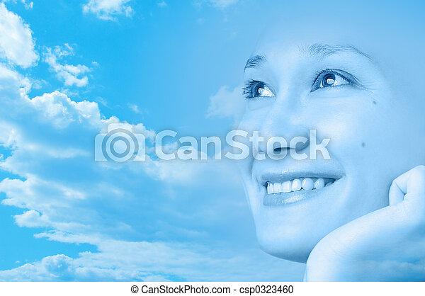 twarz, projektować, artystyczny, uśmiechnięta dziewczyna, szczęśliwy - csp0323460