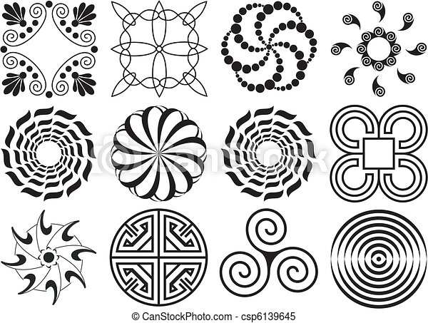 twelve black white design elements circular curved