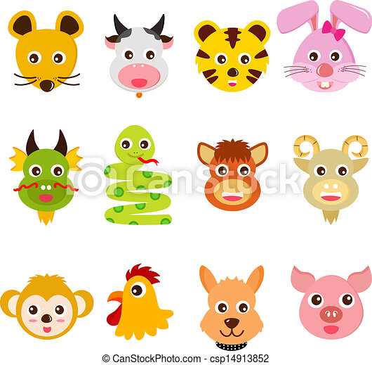 322581fc8 A set of colorful and cute vector icons : twelve chinese zodiac animals.