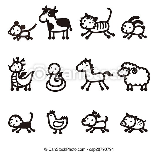Chinese Zodiac Animals Vector Clipart Royalty Free 13039 Clip Art EPS Illustrations And Images Available To Search From