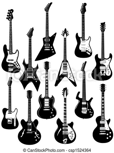 twelve electric guitars - csp1524364