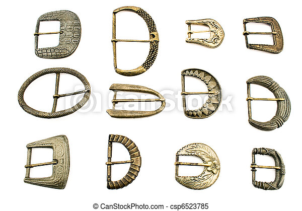 Twelve old belt  buckles - csp6523785