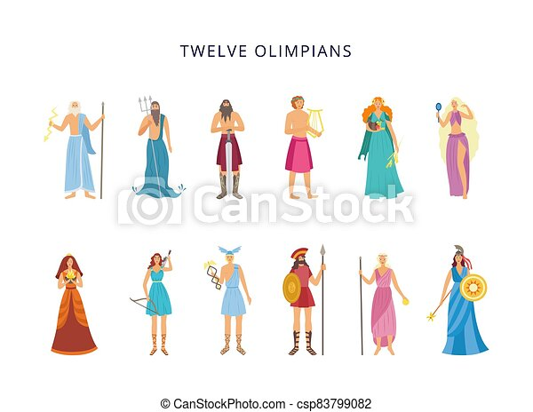 Twelve Olympians Of Greek Gods And Goddesses Flat Vector Illustration Isolated Banner With Cartoon Characters Of Twelve Canstock